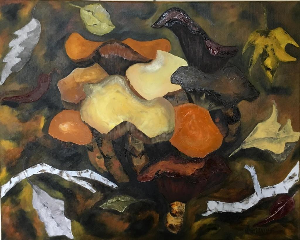 Petit tableau automnale, de cèpes jaunes, orangés, représentés sur un tapis de feuilles mortes et humus.