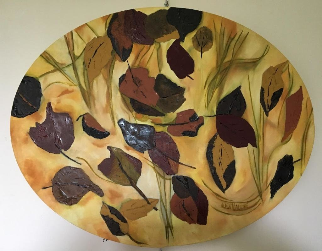 Oval painting, of nature, with dead leaves, swirling in the autumn wind.