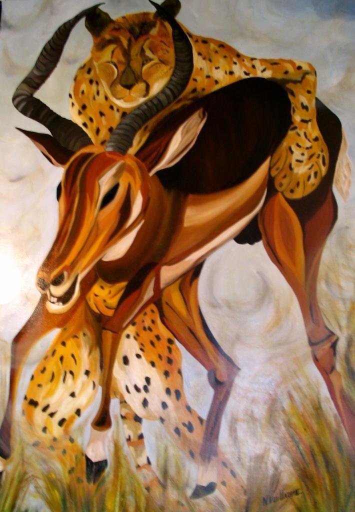 Escena de caza, de África, con leopardo y bóvido.
