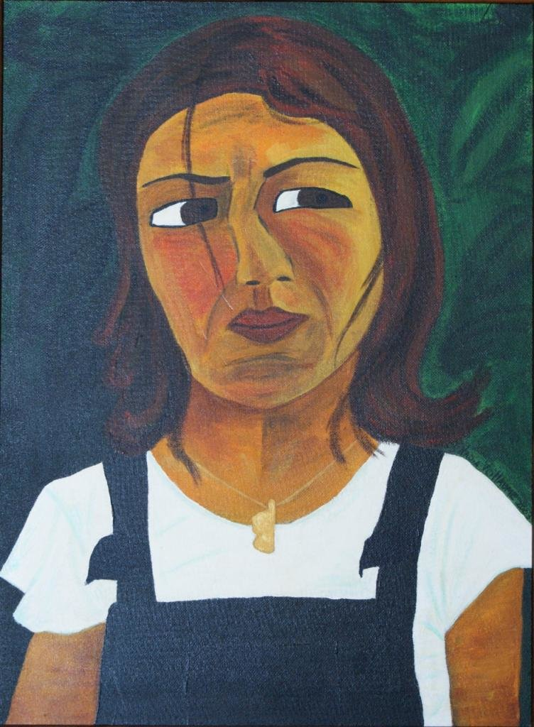 Acrylic portrait, on wood, of a young woman in overalls, with a Corsican pendant.