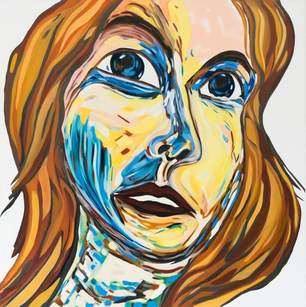 Portrait de femme, aux cheveux longs, et blonds, en larmes.
