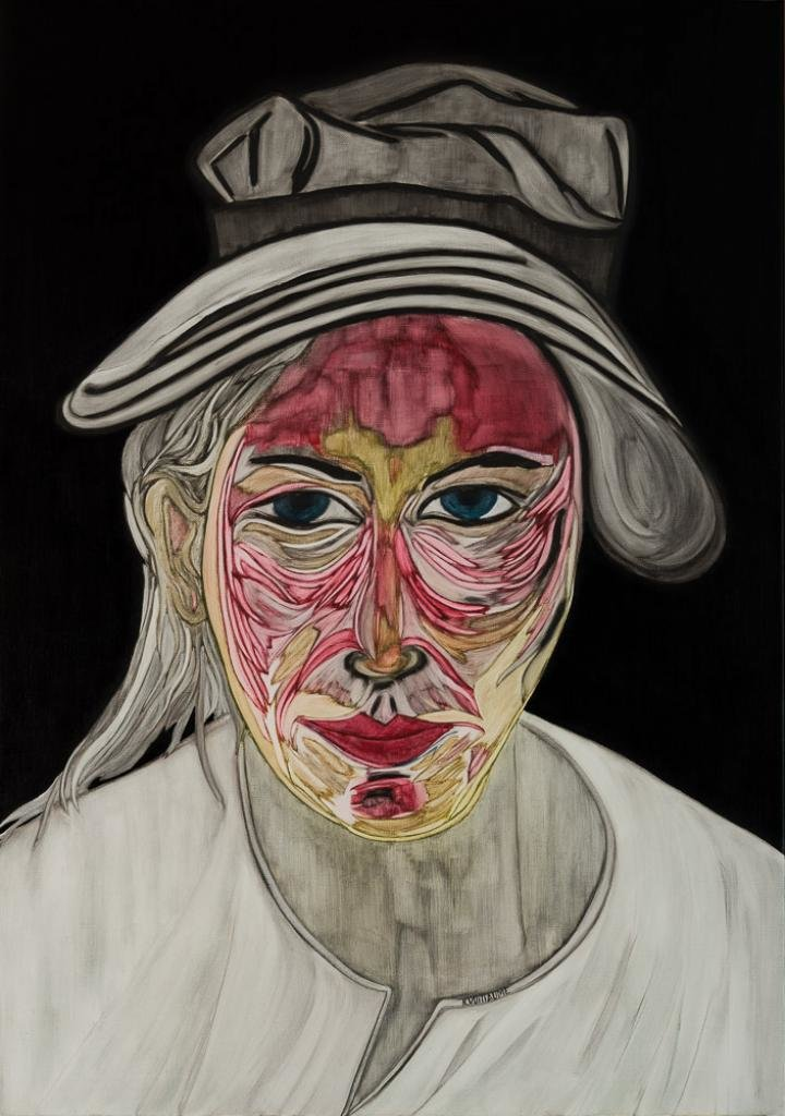 Pintura de una joven, mitad humana mitad animal, con un sombrero.