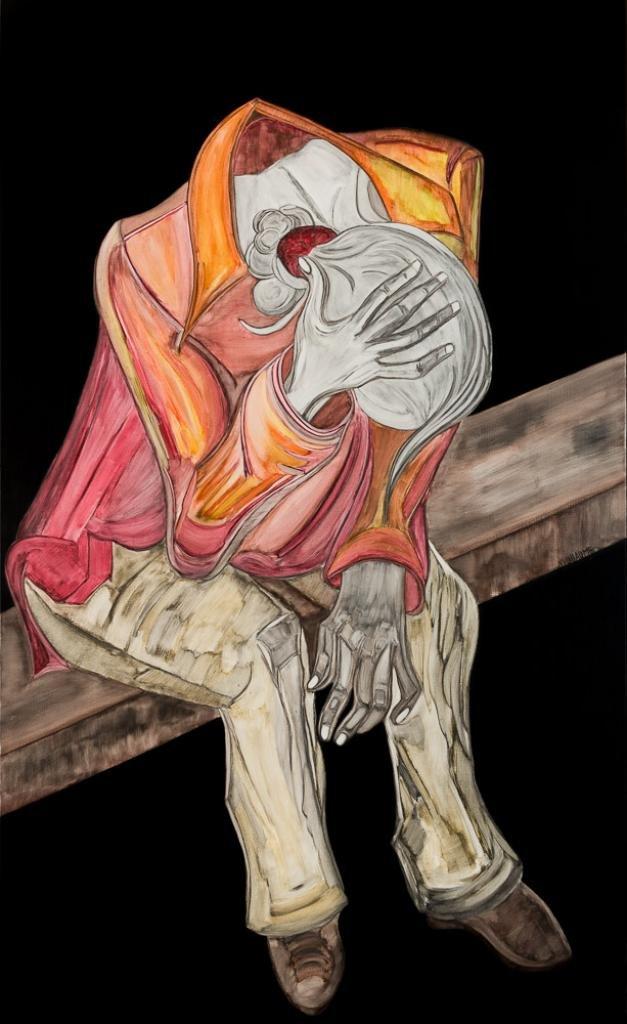 Pintura enmarcada de cuerpo entero de una joven sentada en un banco.