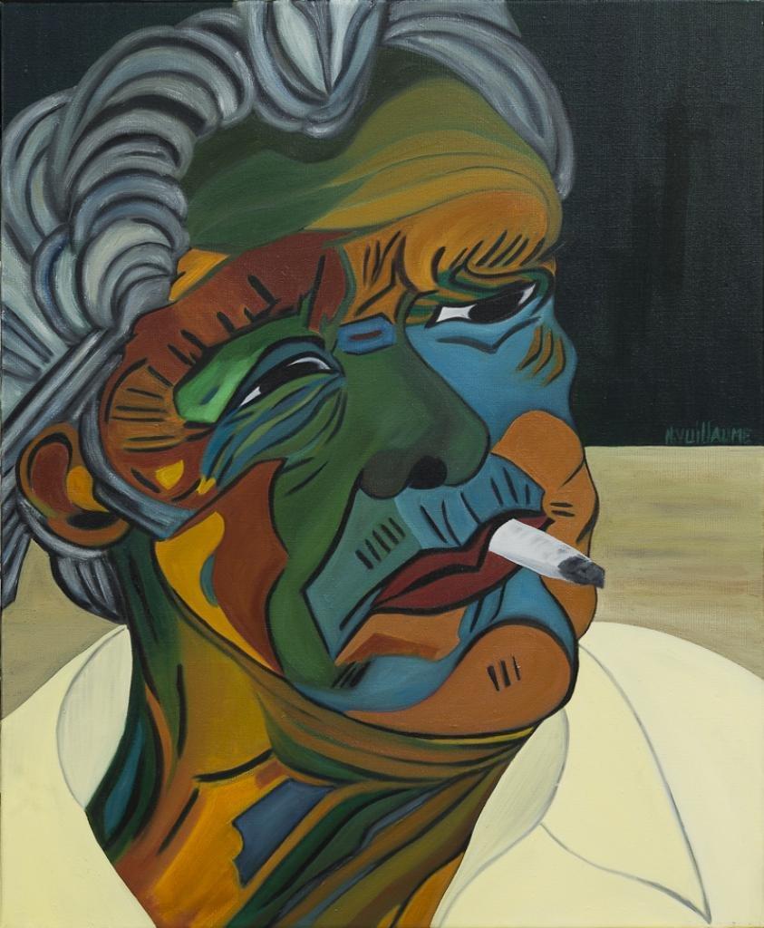 Retrato de un anciano, fumando un cigarrillo, mirando hacia otro lado.