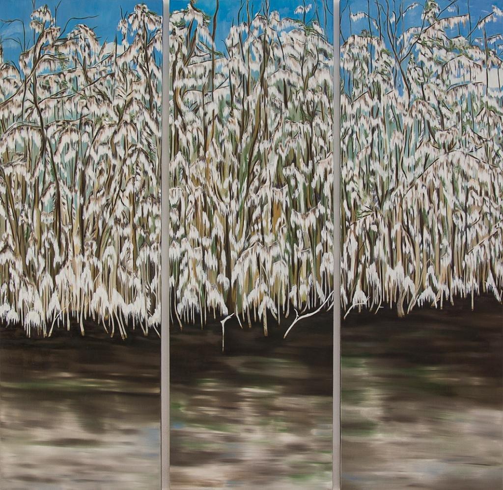 Paisaje pintado al óleo de exuberante vegetación en el pantano de manglares en el sur de la Florida.