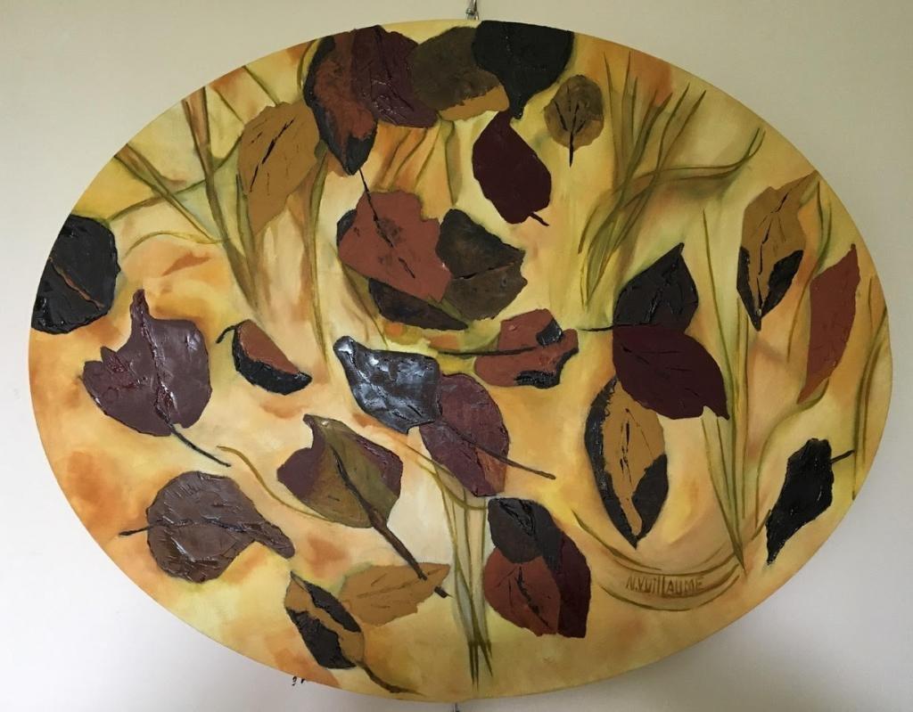 Tableau ovale, de nature, aux feuilles mortes, tourbillonnant dans le vent d'automne.