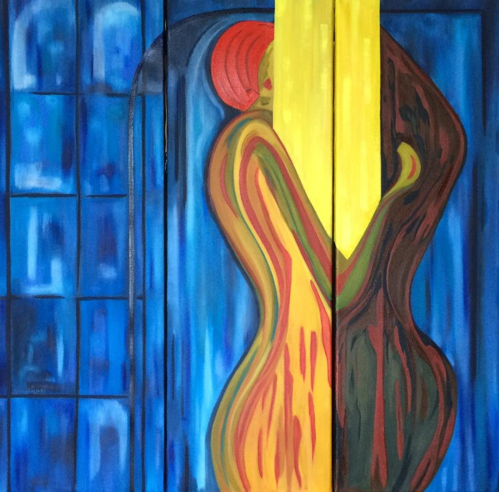 Triptyque d'une scène de genre, représentant l'union Dun homme, et une femme.