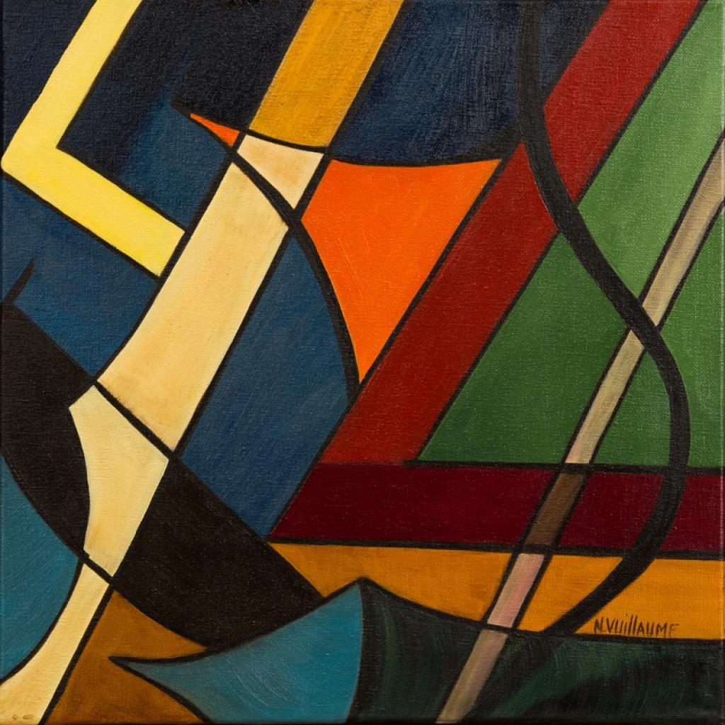Petite composition, cubiste, de paris, la nuit, avec Tour Eiffel illuminé.