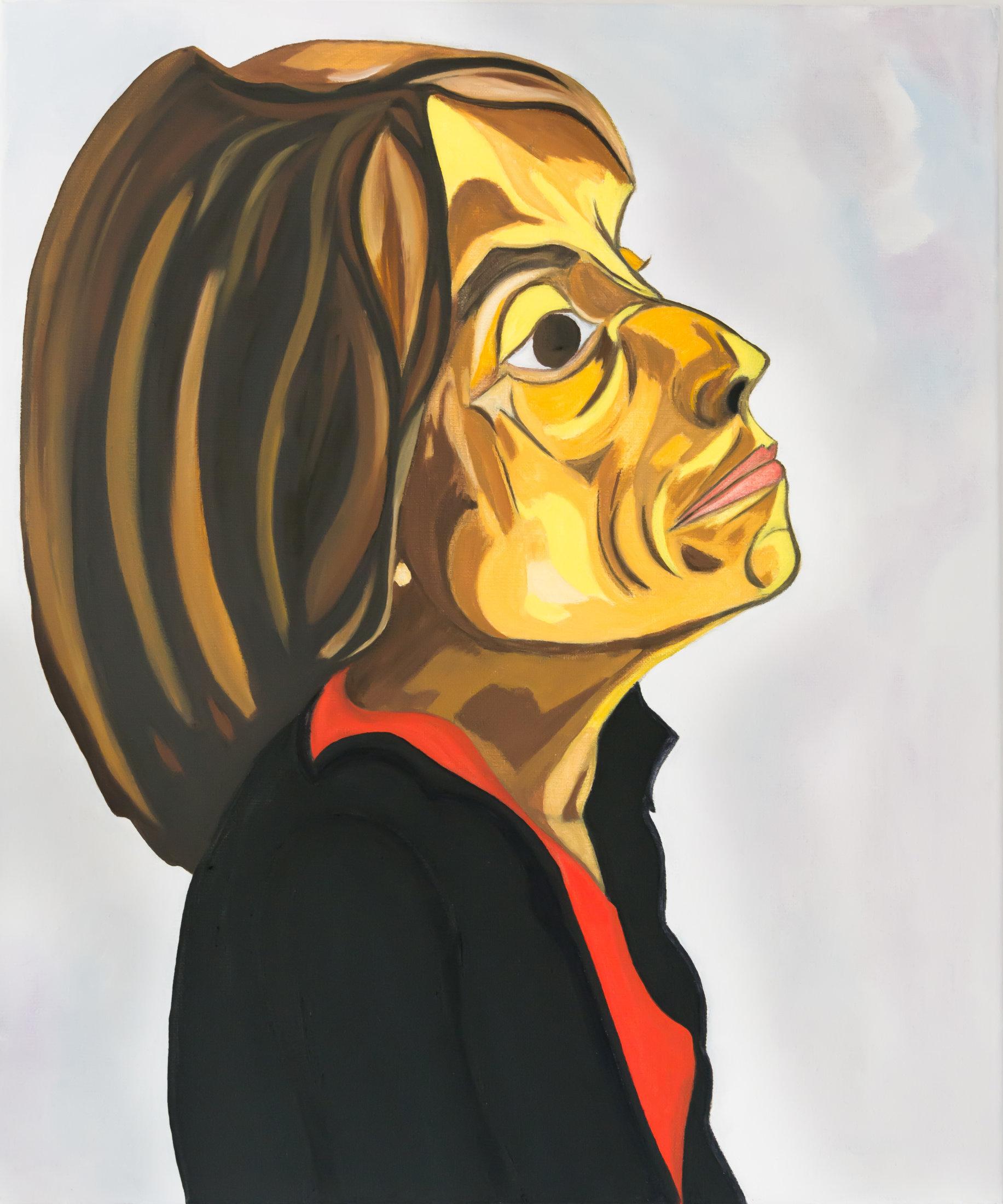 Portrait d'un buste de femme, aux cheveux courts, en veste noire.