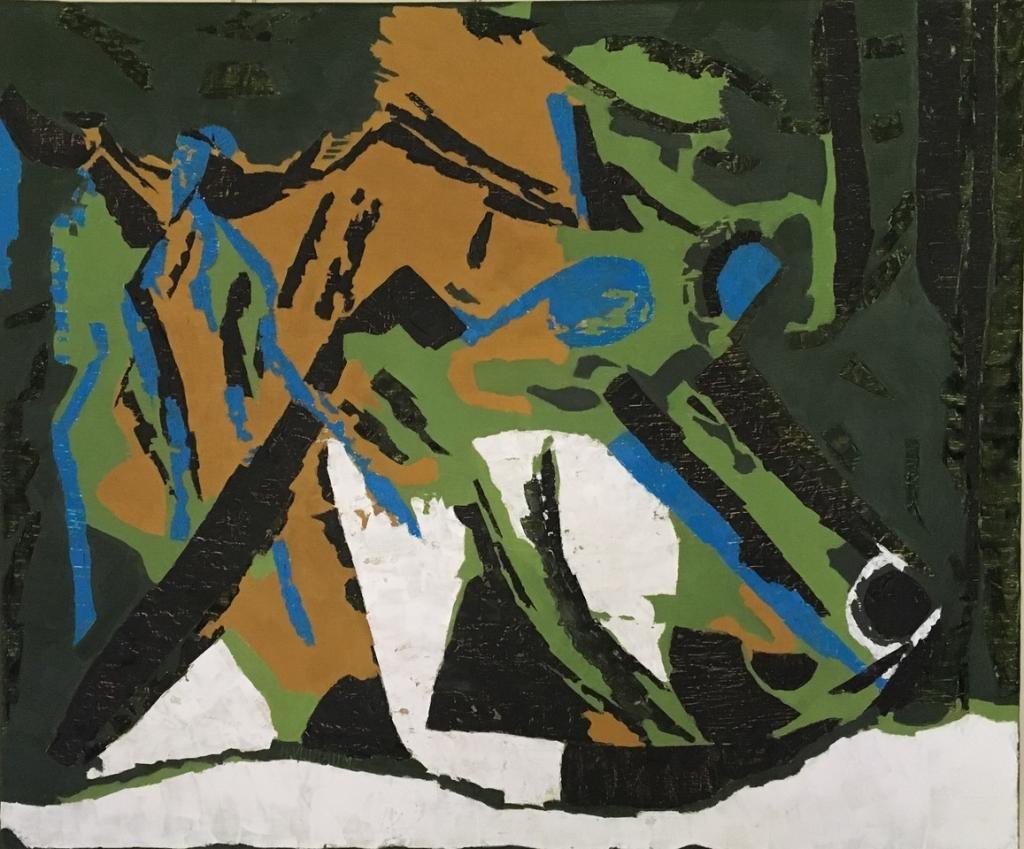 Œuvre abstraite, travaillée en technique mixte, symbolique du déjeuner sur l'herbe.