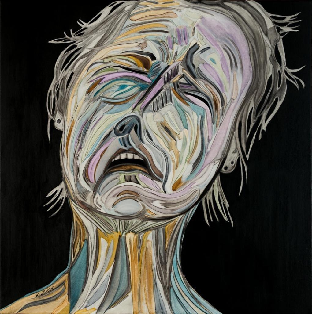 Portrait d'une femme en pleurs, face à son impuissance de sauver le monde.