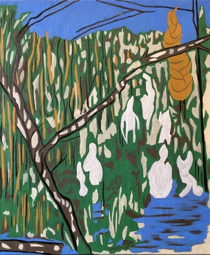 Paysage méditerranéen, avec arbres, et cyprès, au bord d'un lac, détente, et baignade en été.