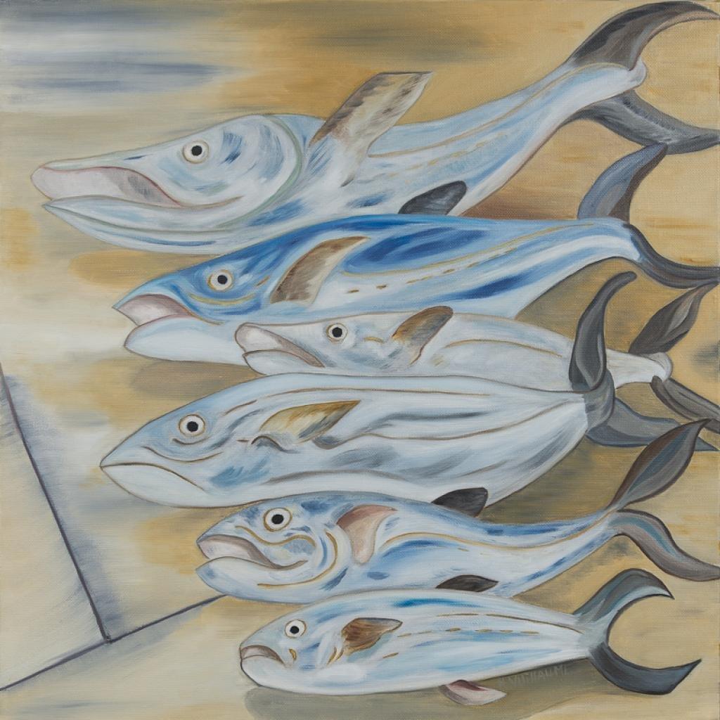 Naturaleza muerta con peces, en tonos pastel, tirados en el suelo.
