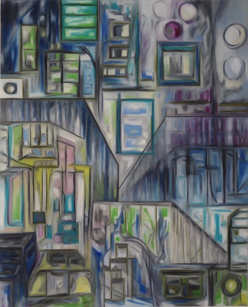 Œuvre cubiste, paysage urbain, ton pastel et lignes sombres.