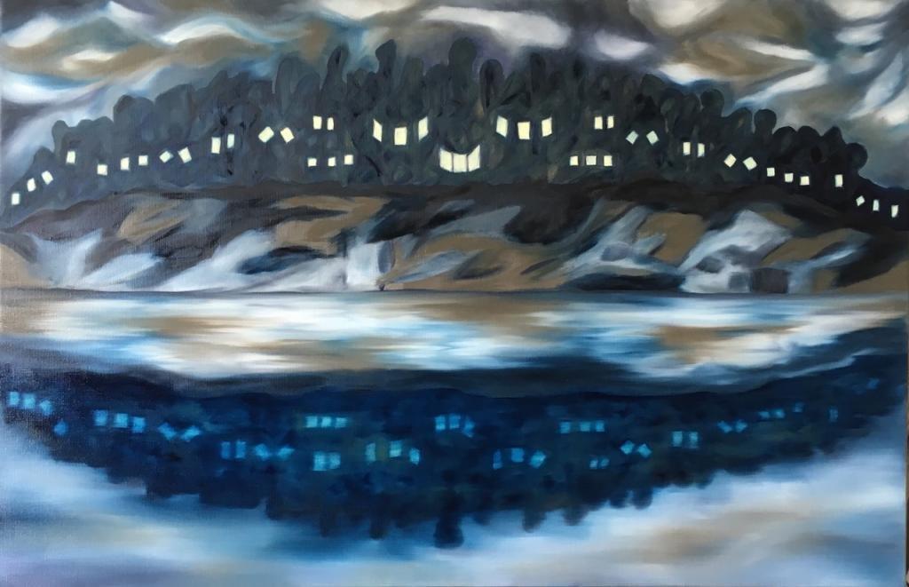 Peinture de genre, d'une composition horizontale, avec reflets, et ombres fantomatiques.