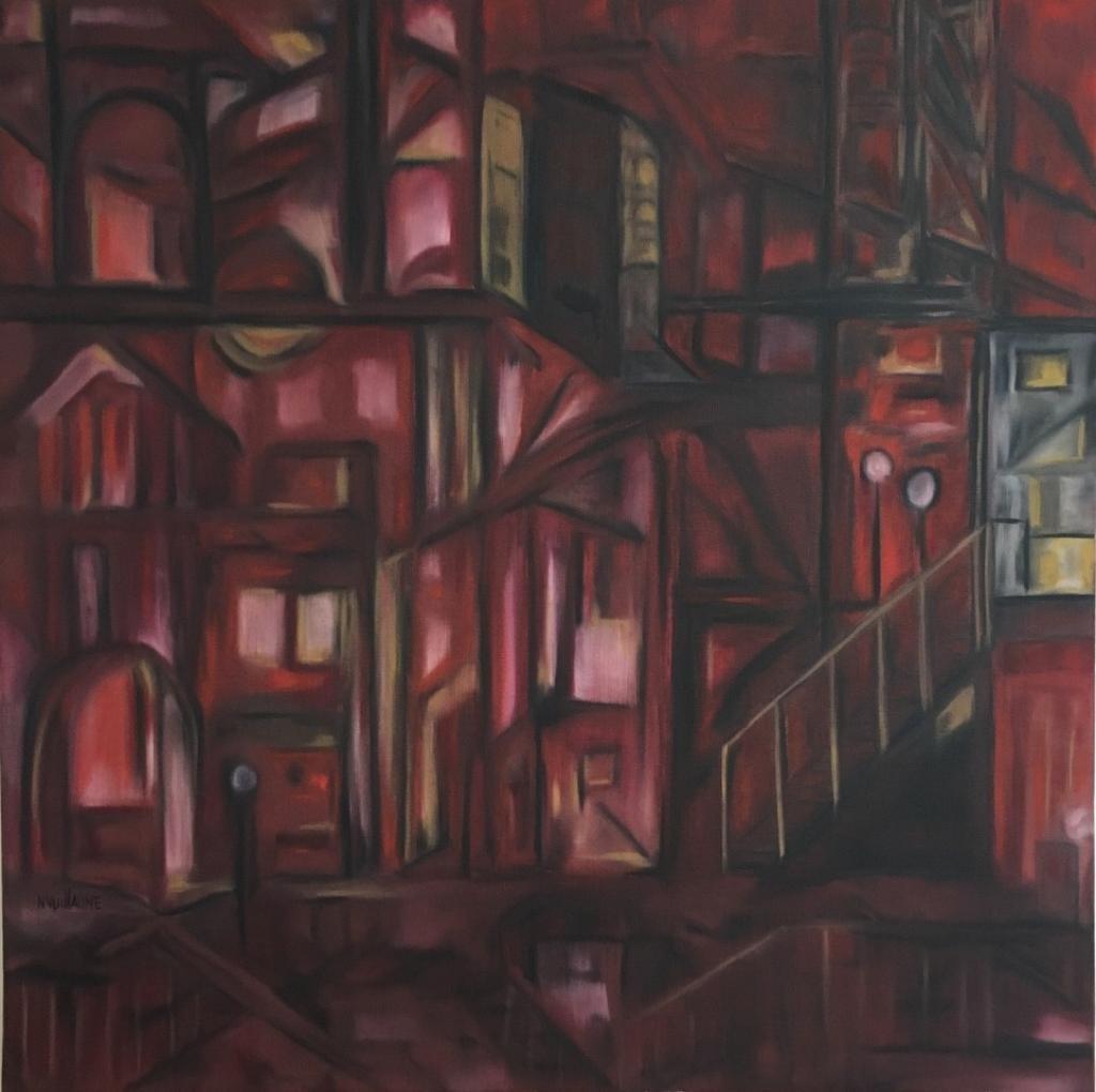 Tableau de camaïeu rouge, d'un quartier de ville pittoresque, à la nuit tombée, le jour de la fête des amoureux.