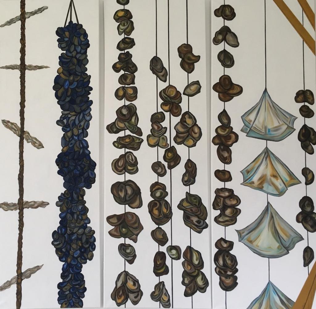 Triptyque, d'une peinture stylisée, des bassins d'huîtres, et de moules, en milieu marin.