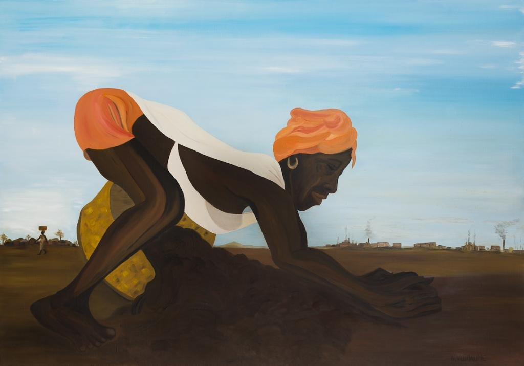 A rural African scene depicting a woman working on the land.