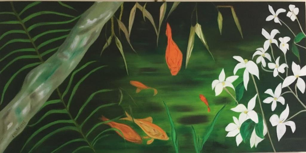 Oil painting, japanese, goldfish, bamboo and white flowers.