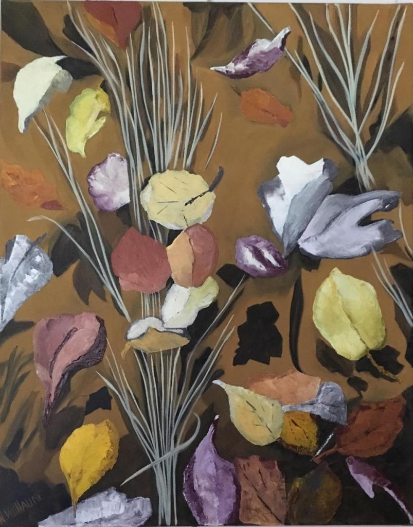 Ramo de plantas herbáceas, en otoño, de una vegetación dormida, con sombras y luz.