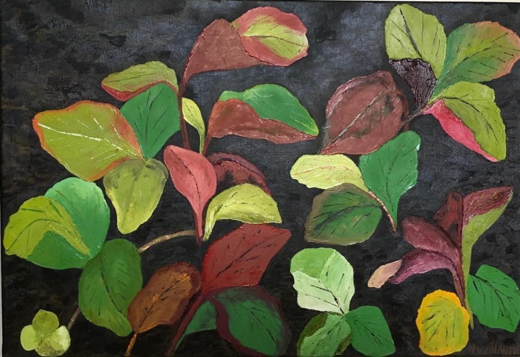 Peinture artistique, de plantes de fraisier, aux couleurs automnales.