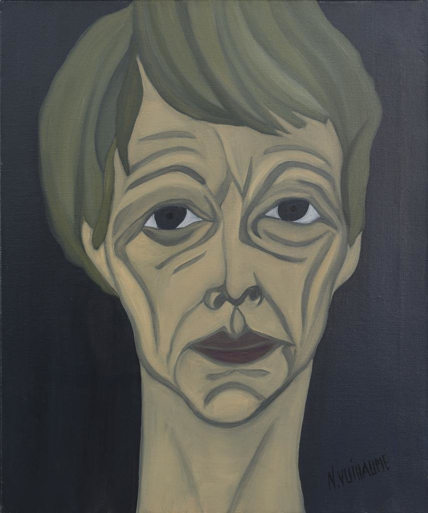 Portrait of a woman, artist, and painter, with an emaciated face and short hair.