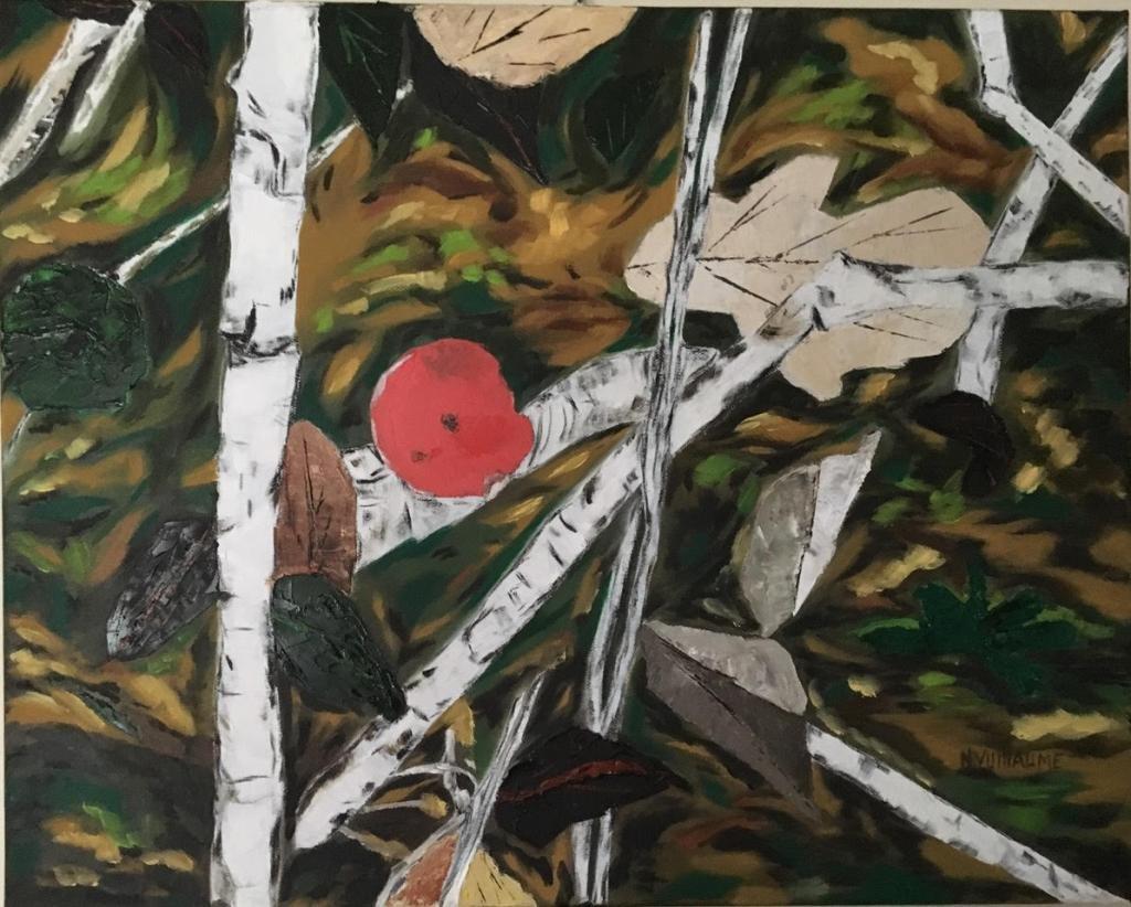 Nature morte, d'un sol forestier, avec champignon, feuilles mortes, et bois mort.