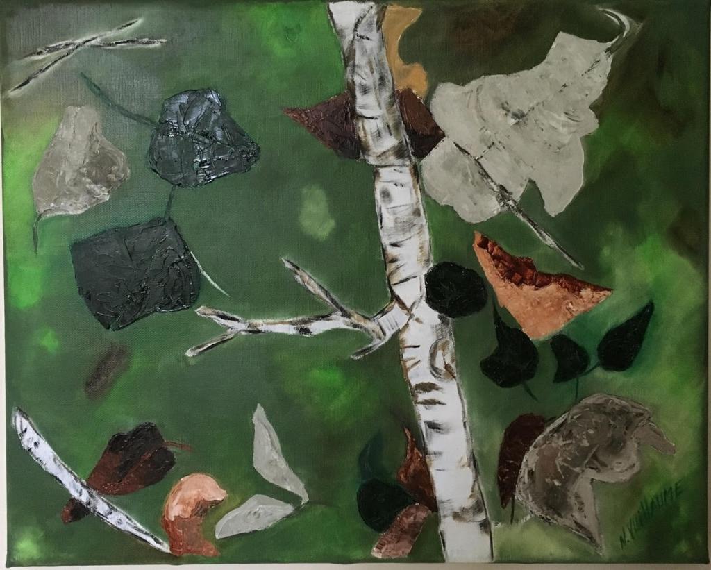 Petit tableau, de feuilles d'arbres, en ronde monotone, portées par le vent.