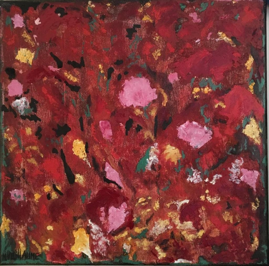 Test canvas, floral representation, in summer, predominantly red.