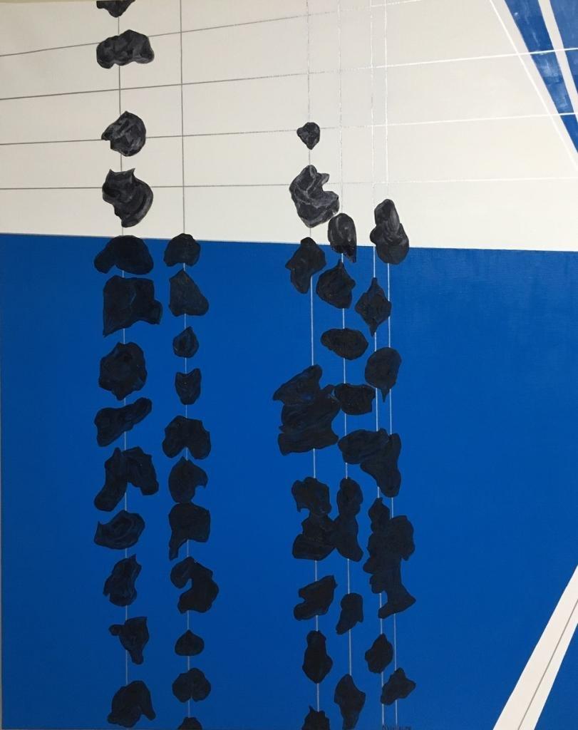 Carrocería en suspensión, obra plástica, realizada con pintura al óleo.