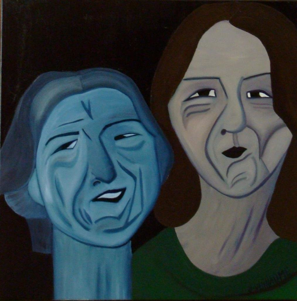 """Two Fiends 2010 Oil On Canvas 20"""" X 20"""" Portrait Abstract"""