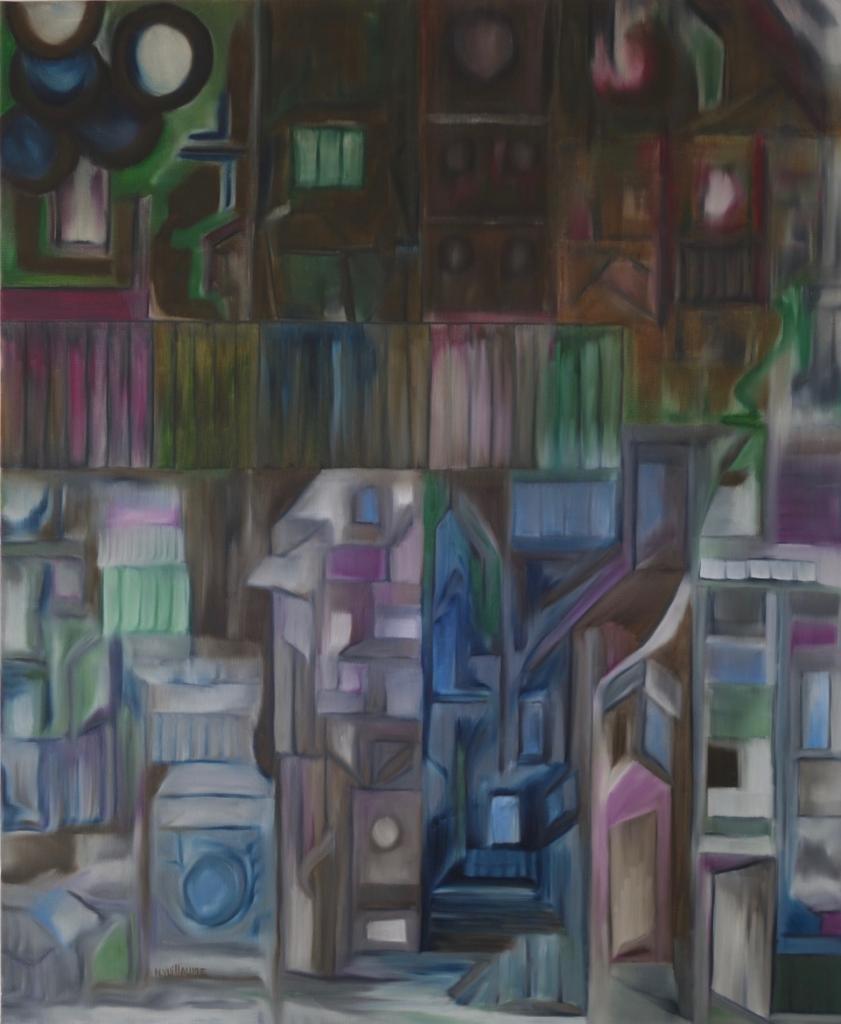Pintura abstracta, acumulación y superposición de forma gráfica, para decoración.
