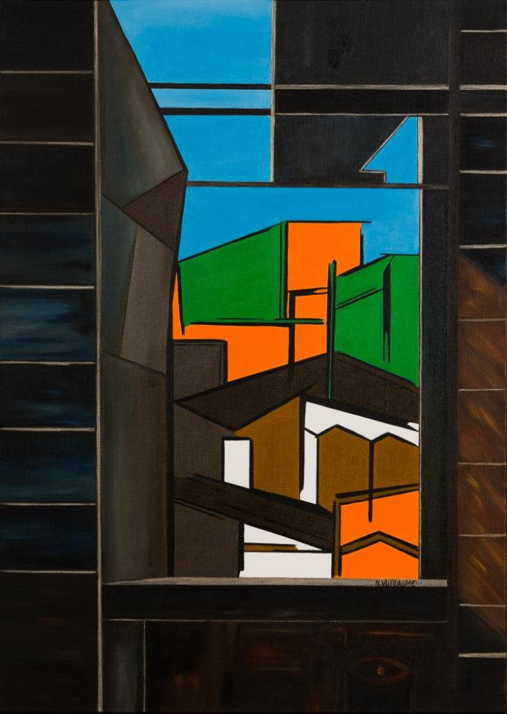 Arquitectura urbana, en color, con cielo azul, vista desde una abertura en la pared.