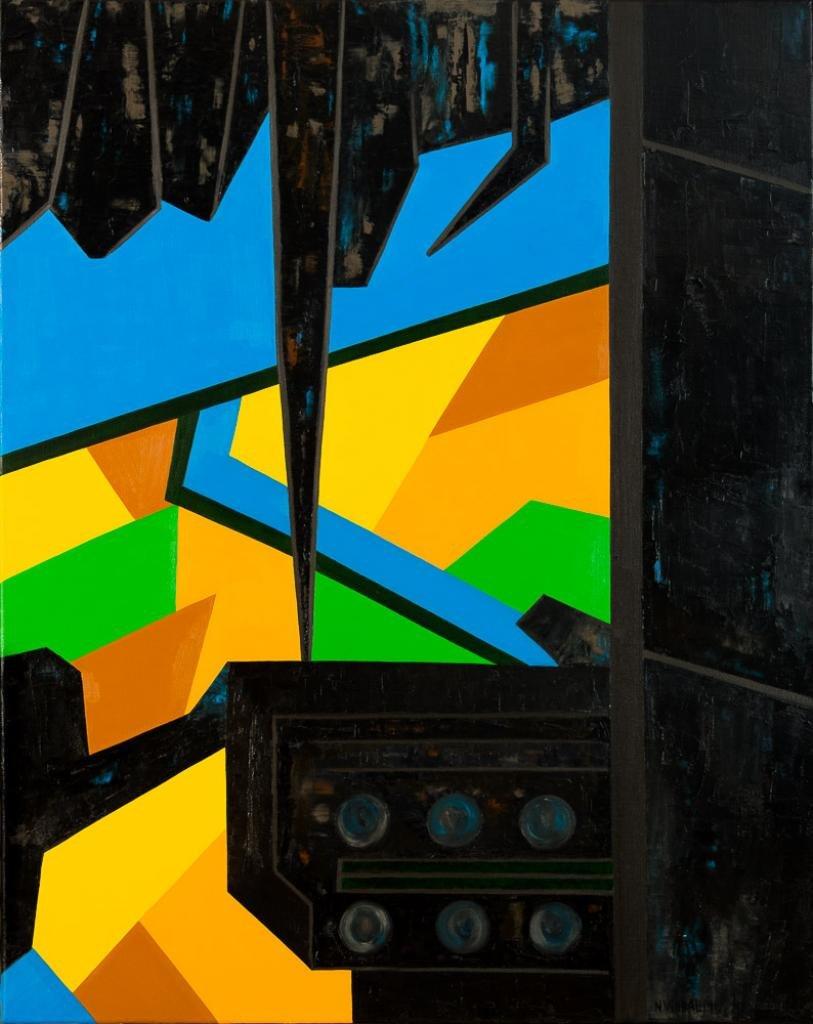 Obra cubista, con fondo y primer plano de color, negro plateado.