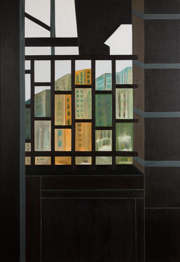 Aperçu de la fenêtre, regard sur la cité, un jour de grisaille.