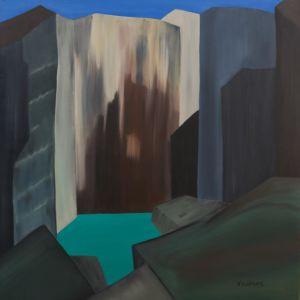 Tableau, réalisé avec pigments de couleurs, d'une falaise, avec point d'eau.
