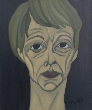 Portrait de femme, artiste, et peintre, au visage émacié, et cheveux courts.
