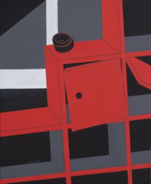 Cubist painting, from a piece of furniture, red and black.
