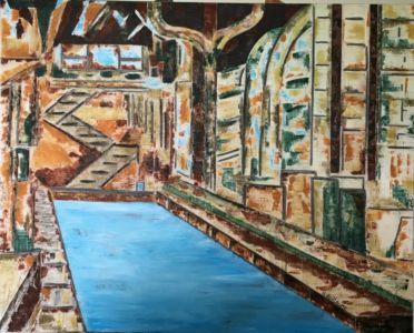 Representación pictórica de una fábrica en desuso, transformada en un balneario.