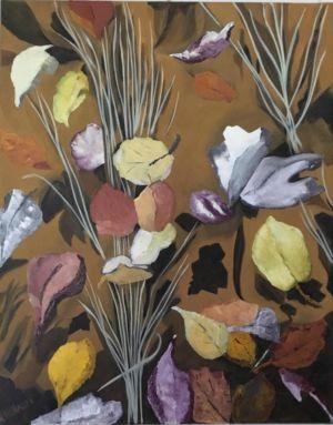 Gerbe d'herbacées, à l'automne, d'une végétation endormie, avec ombres et lumière.