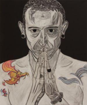Portrait du chanteur de Linkin Park, en technique mixte, sur toile de lin.