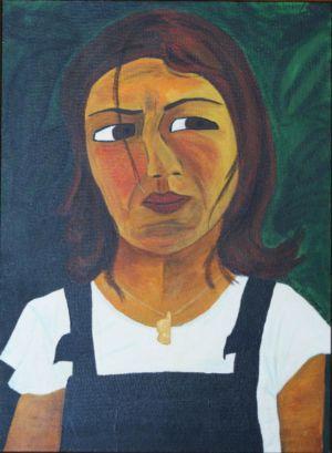 Portrait acrylique, sur bois, de jeune femme en salopette, avec un pendentif corse.