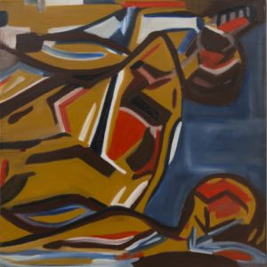 Cubist painting, heaps of shapes, colored, and geometrical.