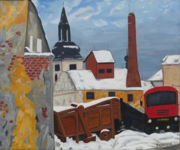 Rural scene, of a Central European village, under the snow.