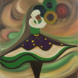Retrato de una bailarina, en movimiento, haciendo malabares con platos.
