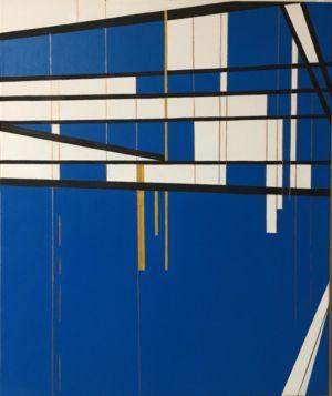 Pintura cubista, predominantemente azul, donde la horizontal y la vertical se cruzan para formar un damero.
