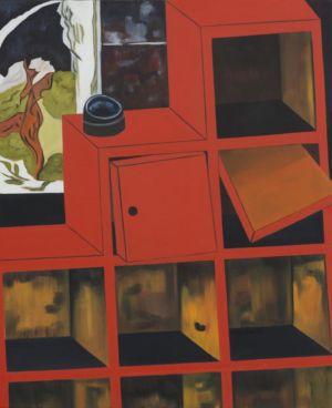 Peinture mêlant réel, et irréel, d'un meuble, rouge, délabré.