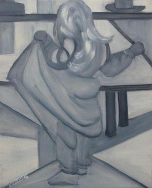 Portrait d'enfant, en noir et blanc, de pied.