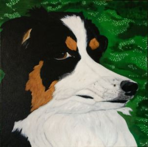 "Hunter Hugs 2014 Oil on canvas 16"" X 16"" Animals Figurative"