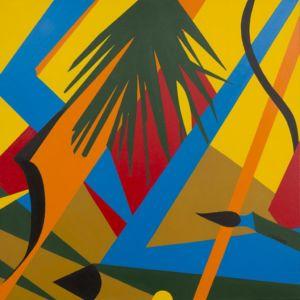 Pintura enmarcada, de un paisaje, con palmeras, bajo el sol.
